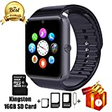 Jderv Smart Watch GT08 Bluetooth with 16GB SD Card and SIM Card Slot for Android Samsung HTC Sony LG HUAWEI ZTE OPPO XIAOMI and iPhone Smartphones (Black)