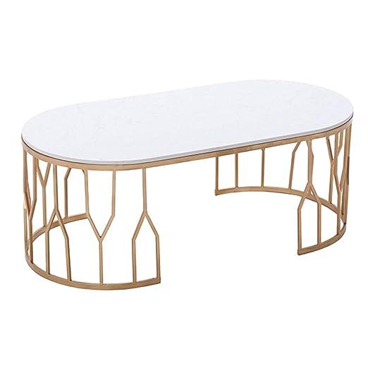 Mesa de centro ovalada Yike-Coffee, mostrador de mármol blanco ...