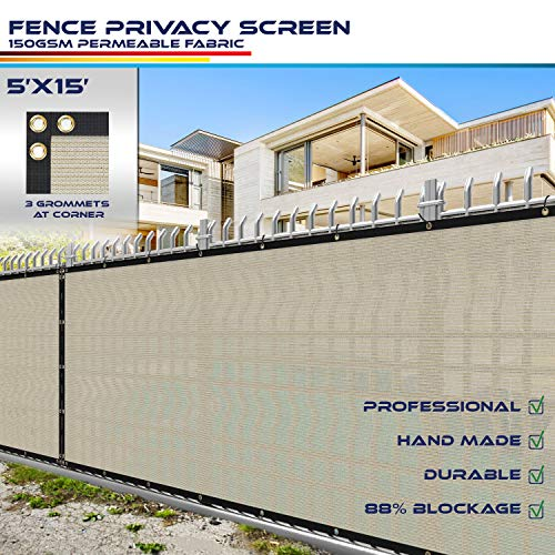 Windscreen4less Heavy Duty Privacy Screen Fence in Color Beige with White Stripes 5