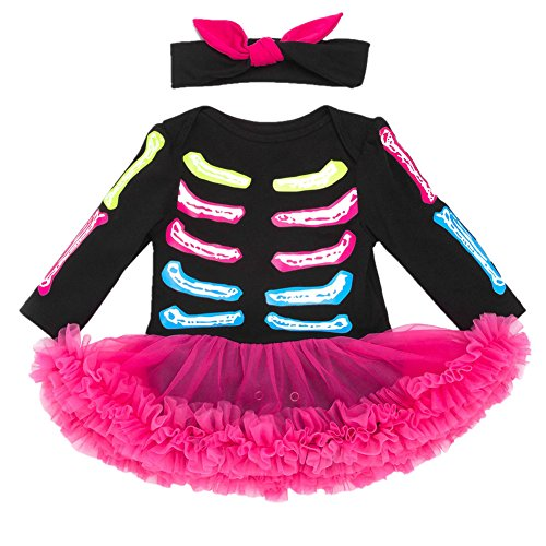 Beide Baby Girls Halloween Dresses Skeleton Print with