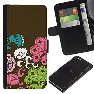 KingStore / Leather Etui en cuir / Apple Iphone 6 / Patrón Flores Marrón Rosa Verde