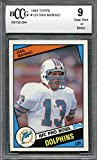 1984 topps #123 DAN MARINO miami dolphins rookie card BGS BCCG 9 Graded Card