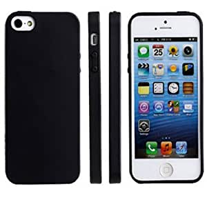 Sannysis 1PC Elegant Pure Color Soft TPU Gel Silicone Skin Case Cover Skin for iPhone 5 5G 5S (Black) by supermalls