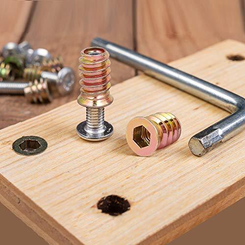 uxcell Wood Furniture M6x20mm Threaded Insert Nuts Interface Hex Socket Drive 20pcs