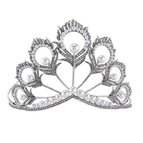 Stuffwholesale Peacock Feather Designs Crystal Pearl Tiara Wedding Crown Bridal Rhinestone Headband (peacock tiara A)