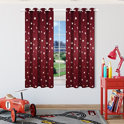 Kotile Burgundy Short Window Drapes with Foil Print Star Patern for Baby Nursery, 2 Panels 63 Inch Length Thermal Insulated Room Darkening Curtains for Sleep Energy Saving (Star Burgundy)
