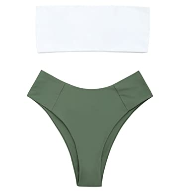 4f1a6fcf6109f Amazon.com  ZAFUL Womens Swimwear Two Pieces Solid Color High Cut Bandeau  Bikini Set  Clothing