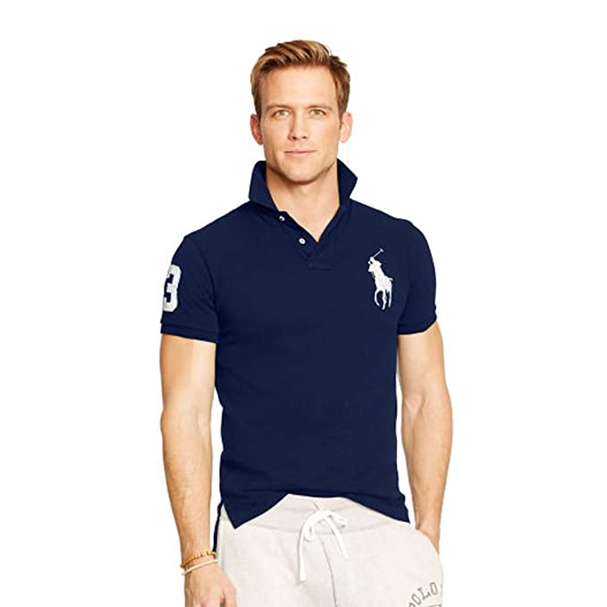 Ralph Lauren Polo para Hombre Big Pony Slim FIT (XXL, Azul Marino ...