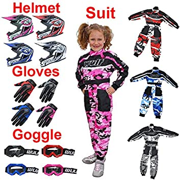 5cm Kids Race Suit M 7-8Yrs Wulf Wulfsport Kids Flite Motocross Helmet Pink + Cub Abstract Goggles 47-48cm Stratos Gloves XXXS