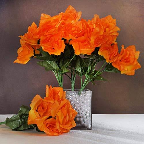 BalsaCircle 84 Orange Silk Open Roses - 12 Bushes - Artificial Flowers Wedding Party Centerpieces Arrangements Bouquets Supplies