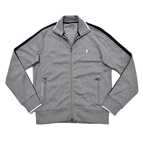 Polo Ralph Lauren Mens Full-Zip Athletic Performance Track Jacket (Light Heather Grey, Small)
