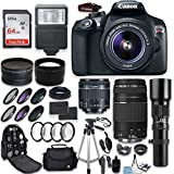Canon EOS Rebel T6 DSLR Camera + Canon EF-S 18-55mm + Canon 75-300mm & 500mm Telephoto Lens + Wide Angle & Telephoto Lens + Macro Filter Kit + 64GB Memory + Accessory Kit