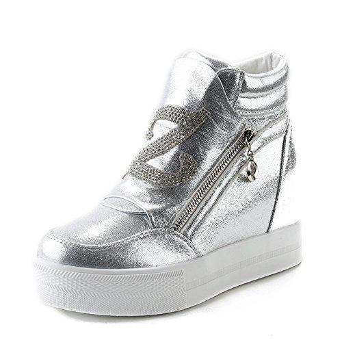 Btrada Womens Aumenti Scarpe Sneakers Alte Nascoste Laterali Con Cerniera Cz Scarpe Sneakers Piatte A Piattaforma Argento