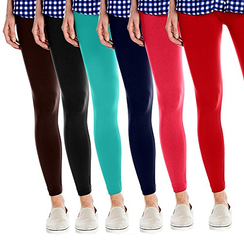 Womens Super Soft Fleece Lined Leggings  One Size   Pack Of 6