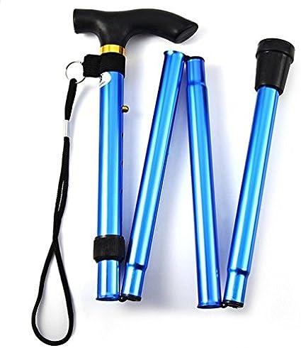 Ducomi® Bastòn Plegable de 82 a 92 cm en Aluminio - Ligero, Transitable y Duradero - Incluye Correa de Transporte (Blue)