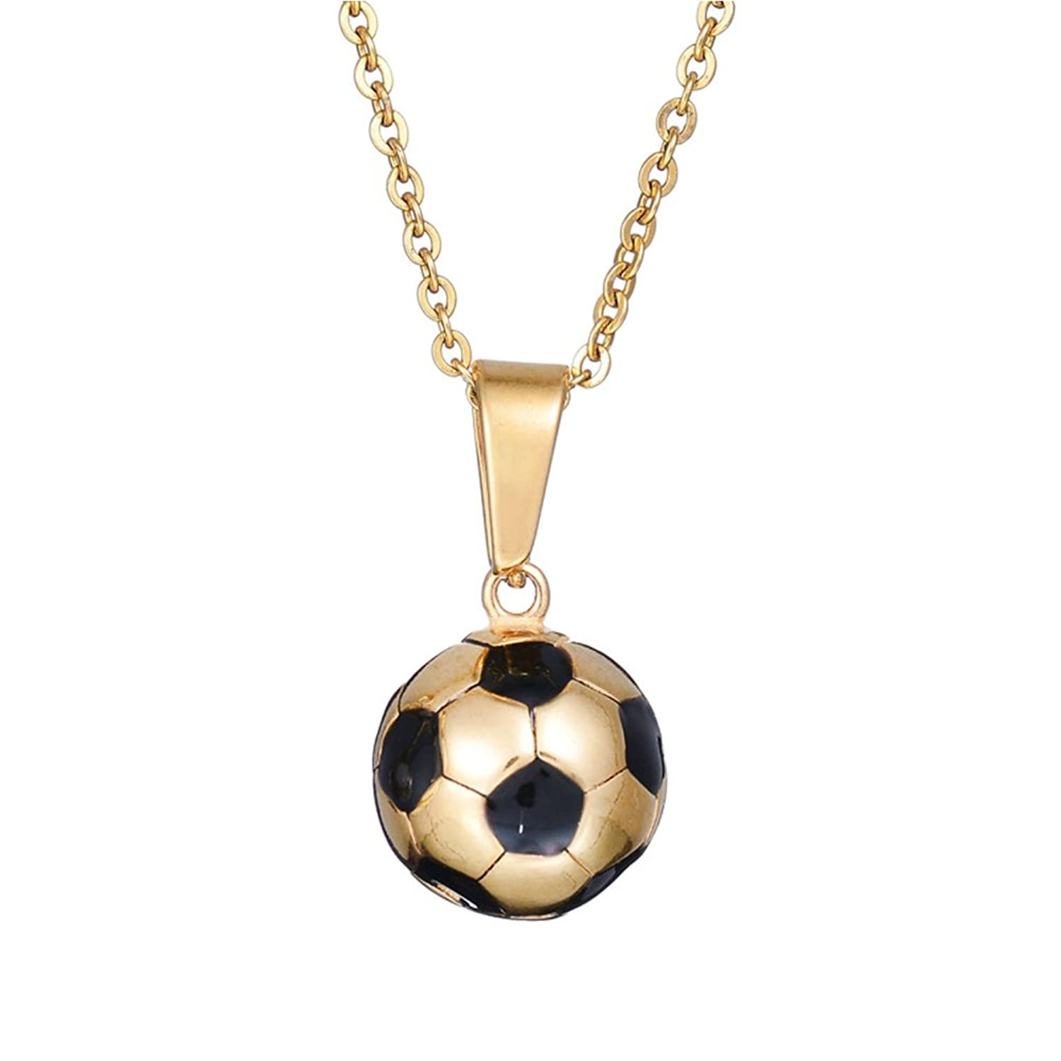 ball inches football soccer pendant white jewelry black silver sterling dp amazon necklace com