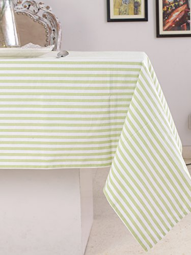 (Cotton Rectangular Table Cloth (60 x 84 Inches), Green & White Stripe - Perfect For Spring, Summer, Holidays - Christmas And For Everyday Use)