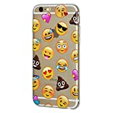 Emoji Iphone 6 Case Soft Gel Crystal Clear Transparent Emoji TPU Skin Case for iPhone 6/6s - Mixed Emotions with Poop