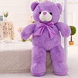 large teddy bear 10 feet - YXCSELL 2.5 FT 31 Inches Lavender Neck Ribbon Bow Tie Cute Soft Plush Stuffed Animals Giant Teddy Bear Toys Big Stuffed Animal Wonderful Toy