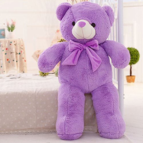 YXCSELL 5 FT 63 Inches Lavender Neck Ribbon Bow Tie Cute Soft Plush Stuffed Animals Giant Teddy Bear Toys Big Stuffed Animal Wonderful Toy (Little Dog Teddy Bear Costume)