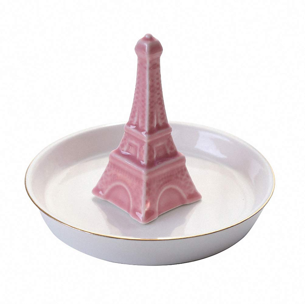 Eiffel Tower Ceramic Jewelry Tray Ring Earrings Holder Necklace Crafts Organizer Storage Desk Ornaments Trinkets Tray Dish Plate Stand Display Gift for Daughter Girlfriend Home Decor(White) by OurHomeArt