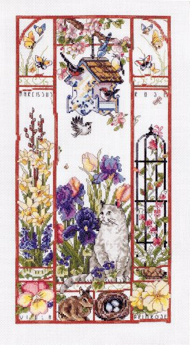Janlynn Counted Cross Stitch Kit, Spring Cat Sampler