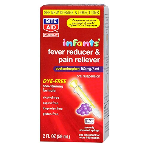 (Rite Aid Infants Fever Reducer & Pain Reliever Oral Suspension, Grape, 2 fl oz, 1 Count)