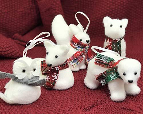 yacn 5 Pcs Xmas Tree Pendant Christmas Ornaments Cute Bear Squirrel Owl Deer Fox White Foam Woodland Animal Forest Friends Christmas Ornament Set Kids Gift Home (White Christmas Deer Ornaments)