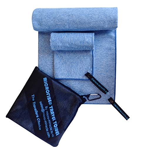 Microfiber Travel Towel, XL 30x60 - FREE Fast Dry Hand Towel - Our Super Absorbent Dry Towel is So Soft, Lightweight and Compact - Great for Camping, Gym or a Beach Towel, Includes Handy Carry Bag