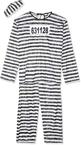 Police And Criminal Halloween Costumes (Fun World Men's Adult Jailbird Costume, White/Black, One)