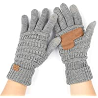 C.C Unisex Cable Knit Winter Warm Anti-Slip Ribbed Touchscreen Smart Cellphone Finger Tips