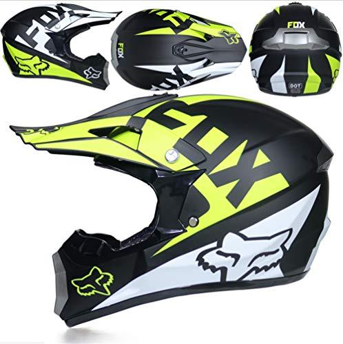 YH-jm Downhill DH Fuera de Carretera Casco de Moto Am Bicicleta de montaña MX Full Face Casco Adultos Hombres y Mujeres,A3,M