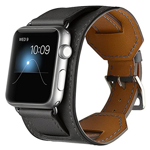 Price comparison product image For Apple Watch Band,CHEEDAY iWatch Cuff Genuine Leather Strap iWatch Band Bracelet Replacement Wristband with Stainless Steel Adapter Metal Clasp for Apple Watch Series 3/2/1 (Black 42mm)
