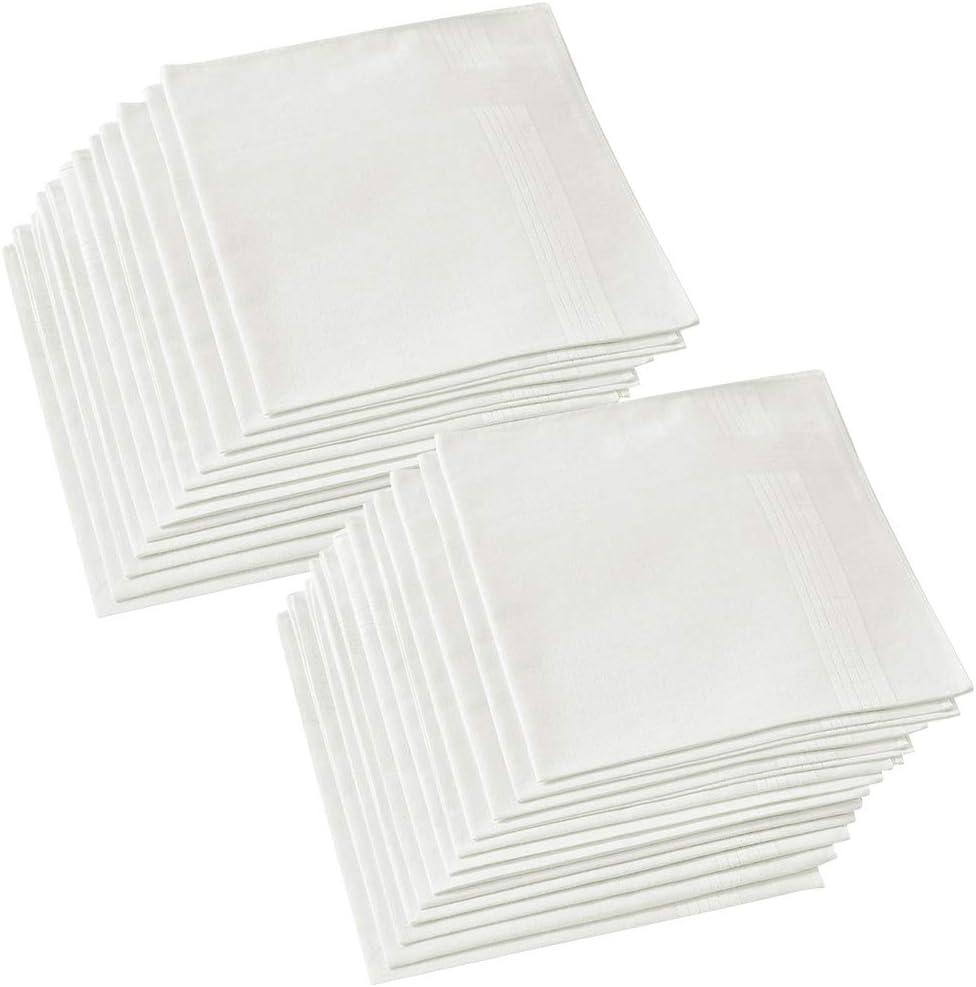 Hangnuo - Paquete de 24 pañuelos de algodón, Color Blanco Puro, 40 ...