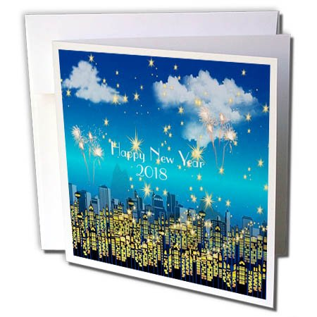 3dRose New Year Designs - Image of Happy New Year 2018 On Cityscape Skyline - 12 Greeting Cards with envelopes (gc_266415_2)