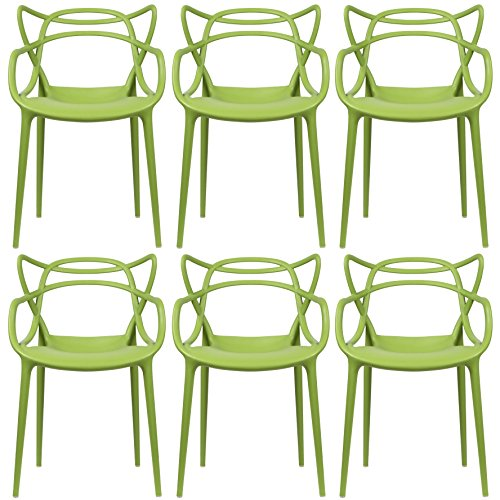 2xhome - Set of 6 - Green - Dining Room Chairs - Modern Contemporary Designer Designed Popular Home Office Work Indoor Outdoor Armchair Living Family Room Kitchen - Emeco Hudson Chair