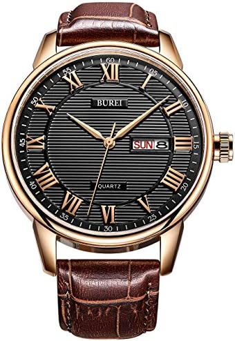 BUREI Men Watches Business Casual Dress Wrist Watch Analog Quartz Date Display with Roman Numeral Soft Leather Strap
