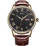 BUREI Men Watch Classic Dress Wrist Watches Analog Quartz Date Display with Black Dial Brown Genuine Leather Strap