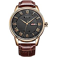 BUREI Mens Business Casual Dress Wrist Watch Black Dial with Roman Numeral Hand Brown Leather Strap