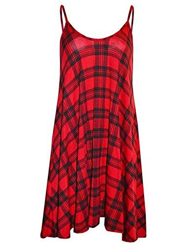 Soficy Womens Sleeveless Plaid Viscose Jersey Flared Swing Cami Dress M