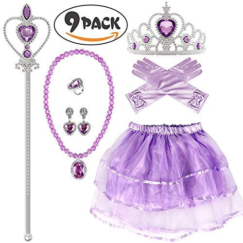 Princess Dress up Sofia Dress Gloves Tiara Wand Necklace Earrings Ring Party Supplies Princess Accessories for Girls]()