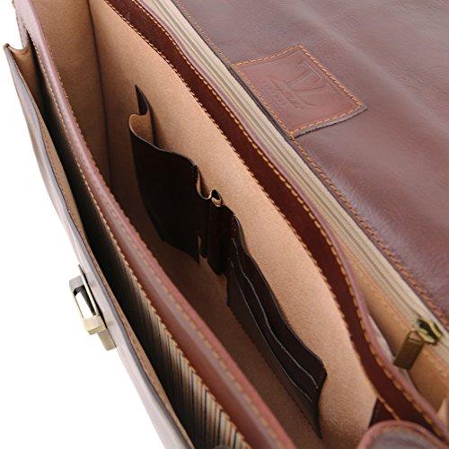 81413484 - TUSCANY LEATHER: NAPOLI (N) Cartable Porte ordinateur en cuir avec 2 compartiments et poche frontale, noir