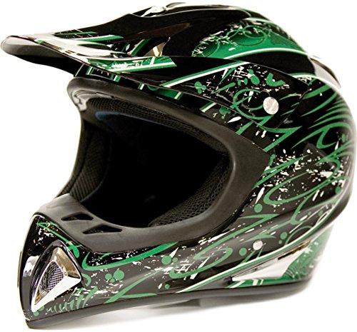 Typhoon Adult Dirt Bike Helmet ATV Off Road ORV Motocross Helmet DOT Motorcycle Green (XL)