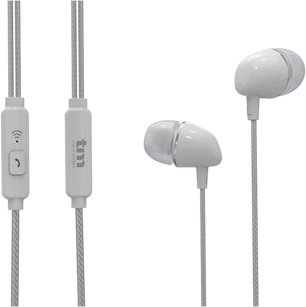 TM Electron TMHE272W - Auricular estéreo con micrófono y Manos Libres, Color Blanco: Amazon.es: Electrónica