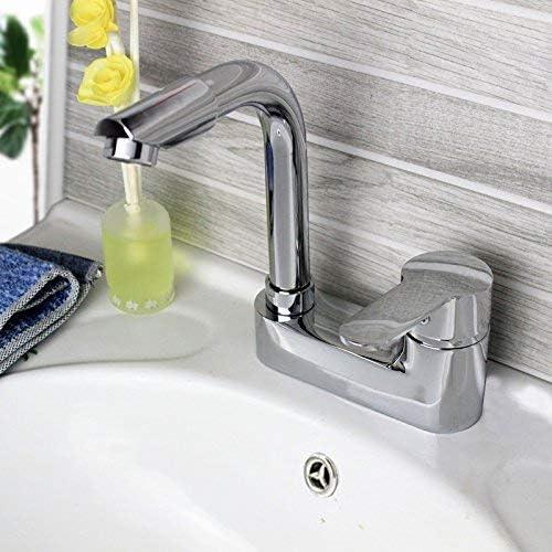立体水栓 蛇口 銅ダブルシンクの蛇口浴室の蛇口ホット洗面シングルダブル三流域の蛇口、特殊銅合金ダブル水道水導入管現代のシンプルな高級品質保証[なし] 万能水栓 台付