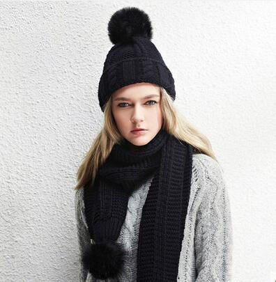 The wool hat scarf thick warm ball knitted scarf by KYXXLD