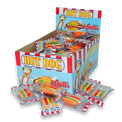 E.Frutti Hot Dog Gummi, 60 Count (SUGAR CANDY - BITE SIZE)