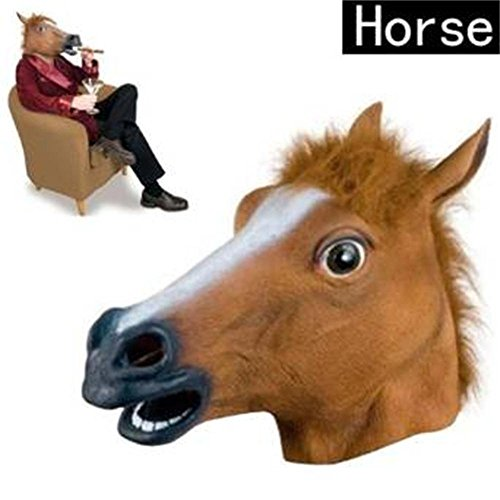 Extremely Scary Halloween Costumes (2015 Novelty Creepy Horse halloween mask extremely funny jokes masquerade scary masks latex Rubber Costume Theater Prop Party (one size, Brown#))