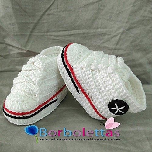 Patucos para Bebé Recién Nacido tipo Converse, 0-3 meses Blanco ...