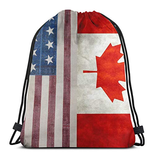 Gym Drawstring Bags USA Canada Flag Lightweight Canvas Shoulder Bag Dance Bags Backpack Sport Sackpack For Men & ()